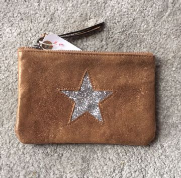 Faux Suede Star Purse/Make Up Bag - Bronze/Tan